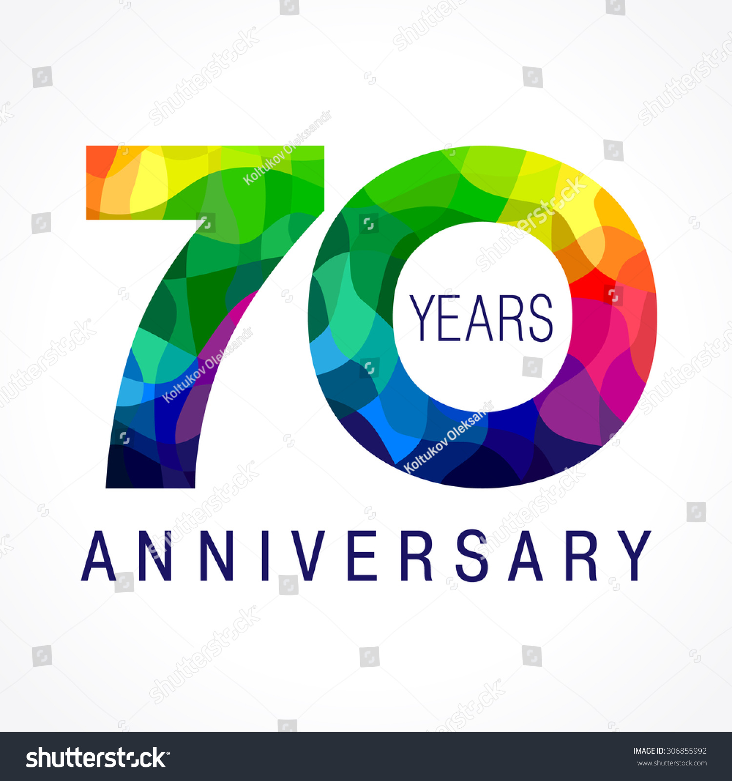 70 Years Old Celebrating Colored Logo Anniversary Th Vector Template Numbers Happy Birthday