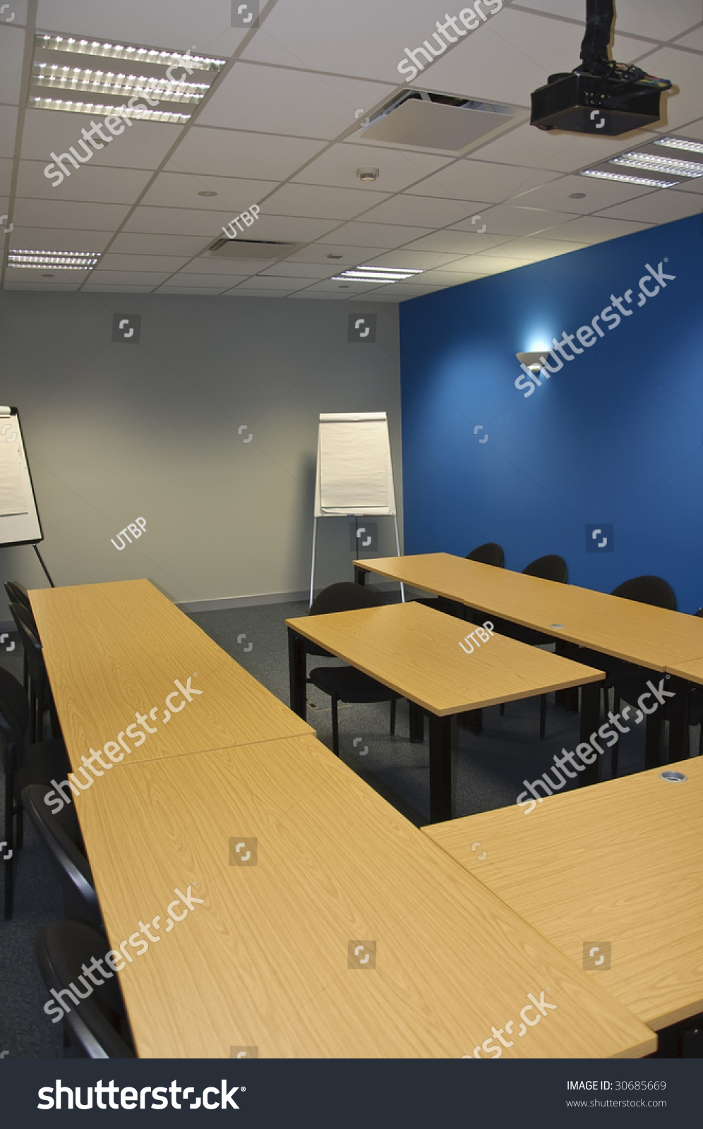 Modern Classroom Projector ~ Empty modern classroom meeting room flip stock photo