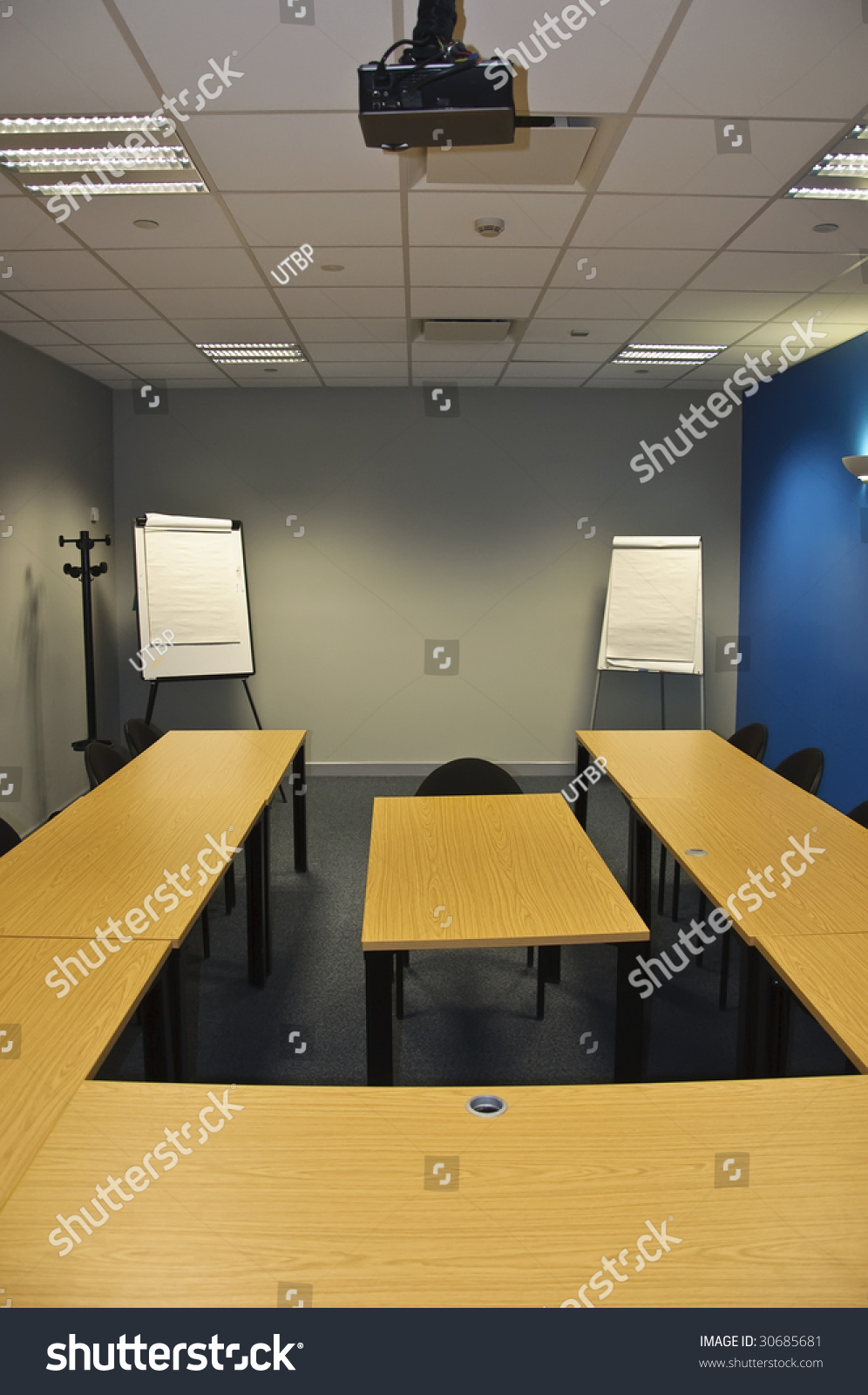 Modern Classroom Board ~ Empty modern classroom meeting room flip stock photo