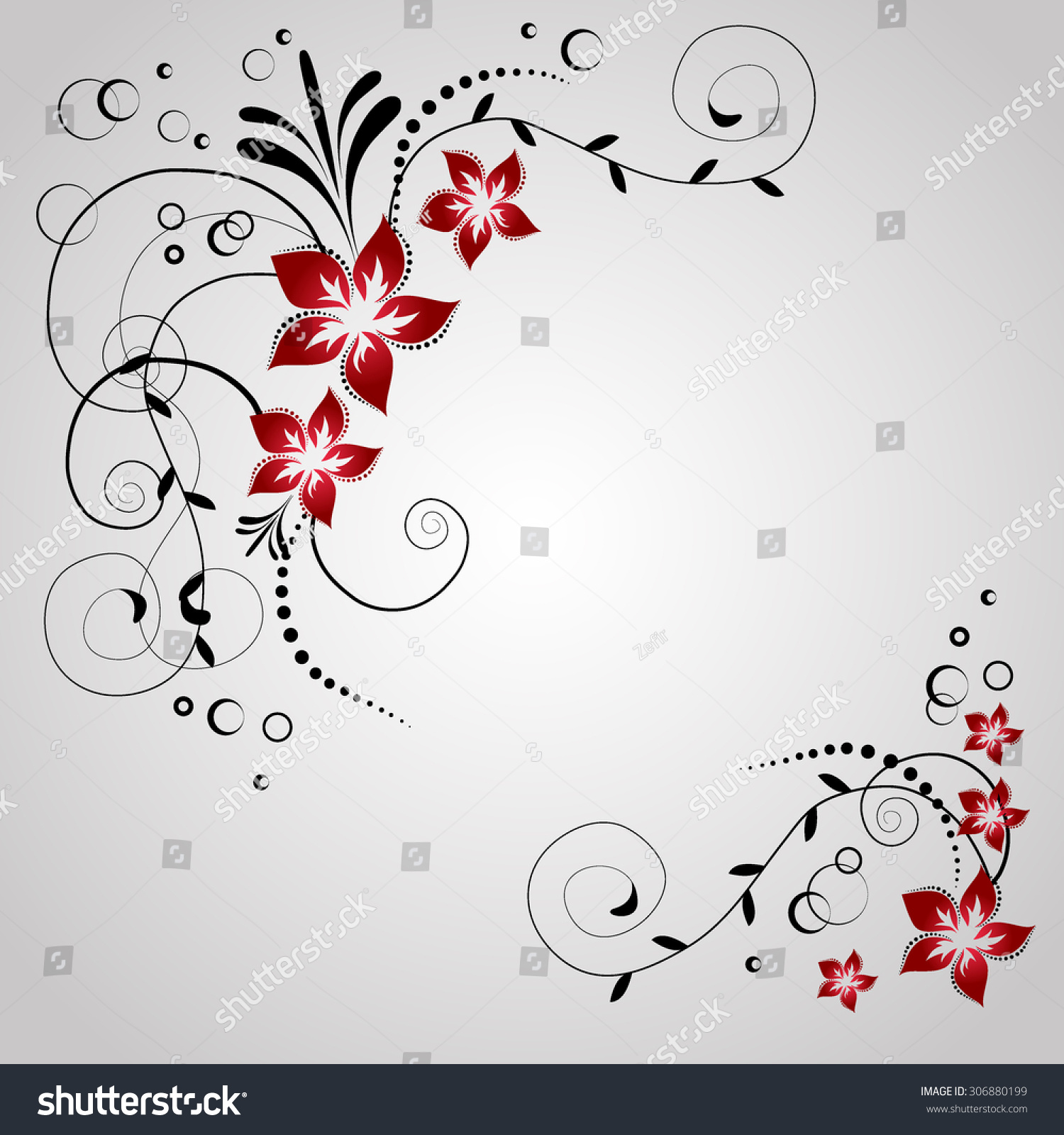 Corner Flowers Invitation Card Swirl Flowers Stock Vector HD ...