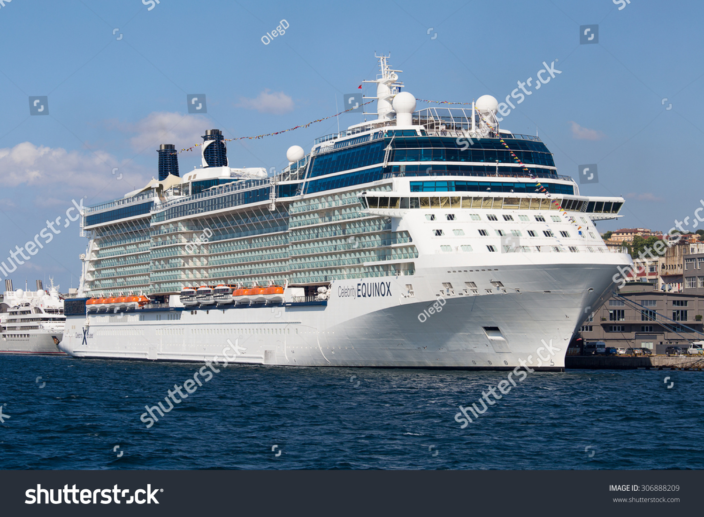 Istanbul Turkey July White Stock Photo - Big cruise ship