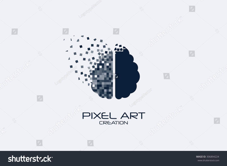 Lovely Pixel Art Brain Logo On White Background.