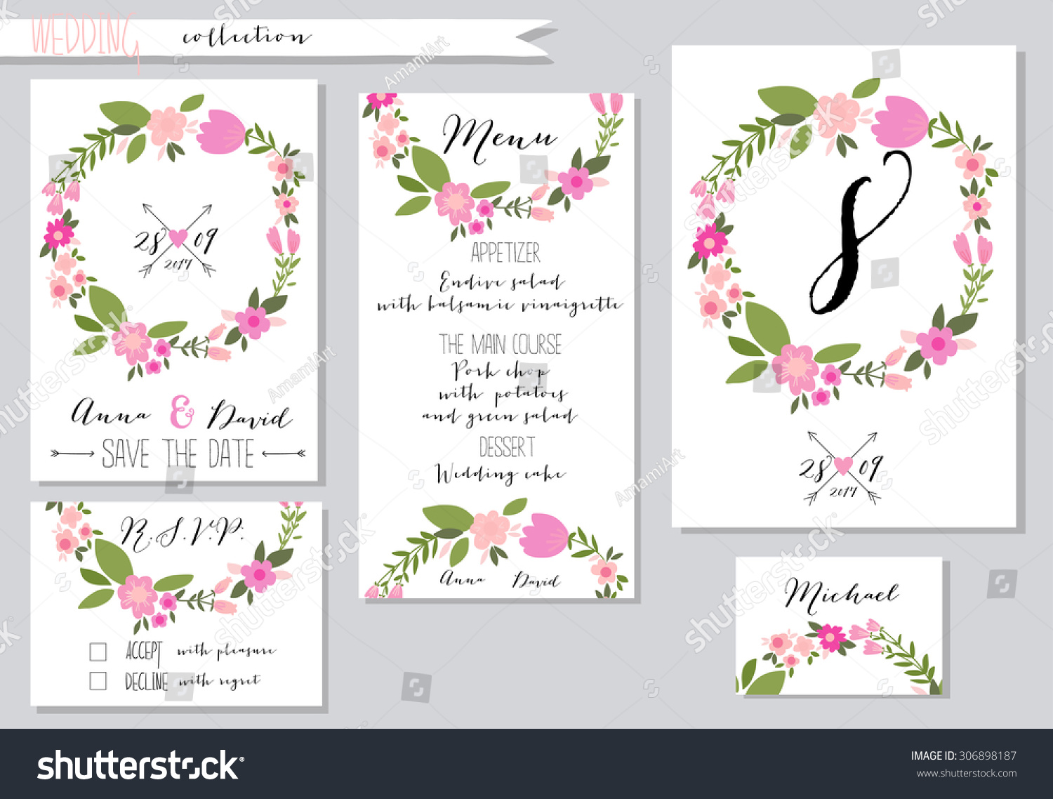 vector illustration collection wedding invitation templates pink