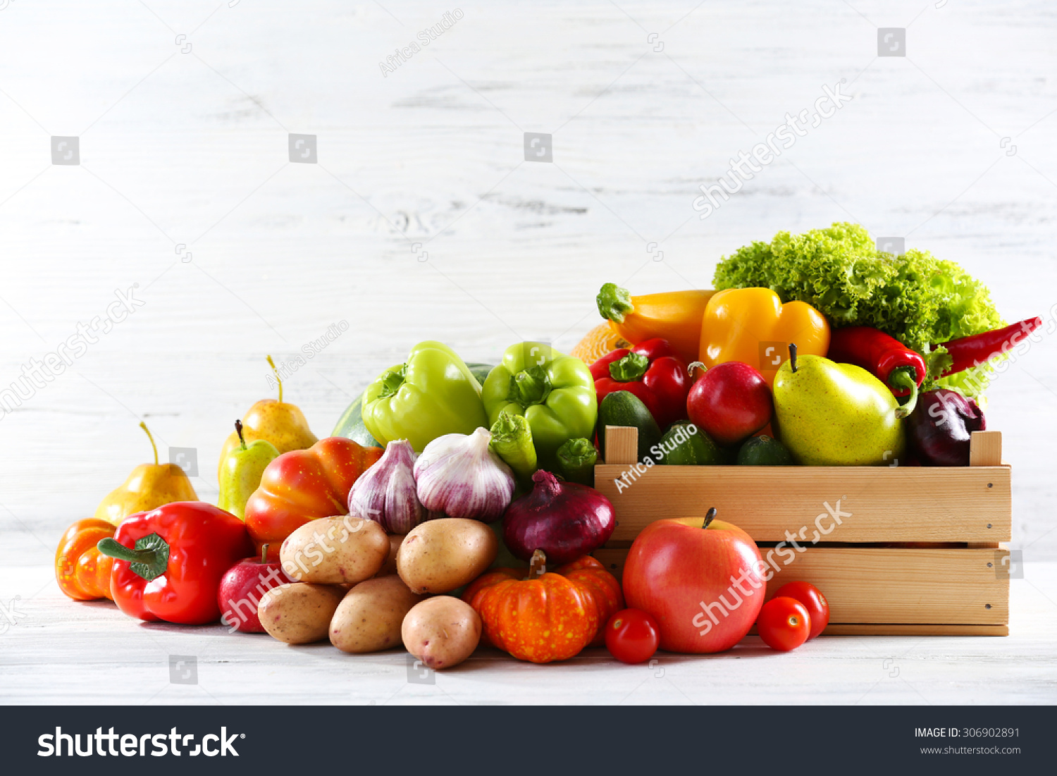 Heap Fresh Fruits Vegetables On Wooden Stock Photo ...