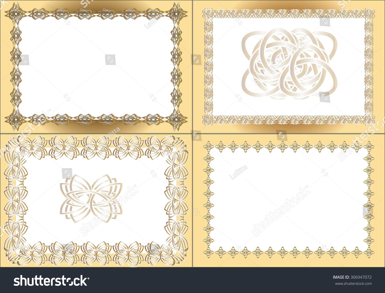 Four Vintage Rectangular Frames Gold Registration Stock Vector ...