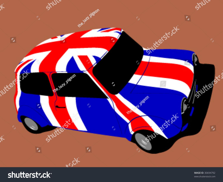 Design car flags - Vector Classic British Mini Car With Flag Of Uk Great Britain