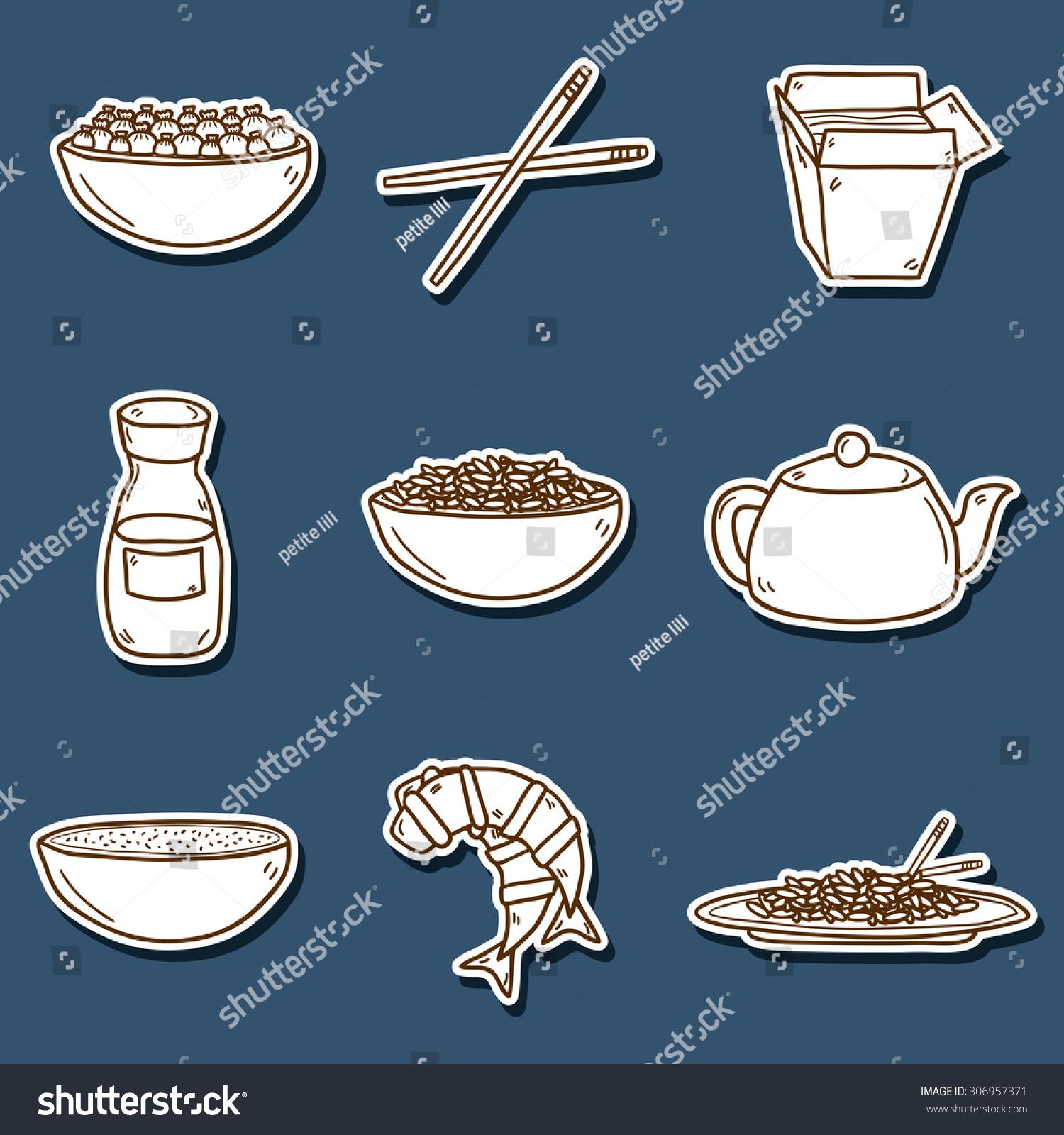 Set Cute Modern Hand Drawn Cartoon Stock Vector 306957371 Shutterstock