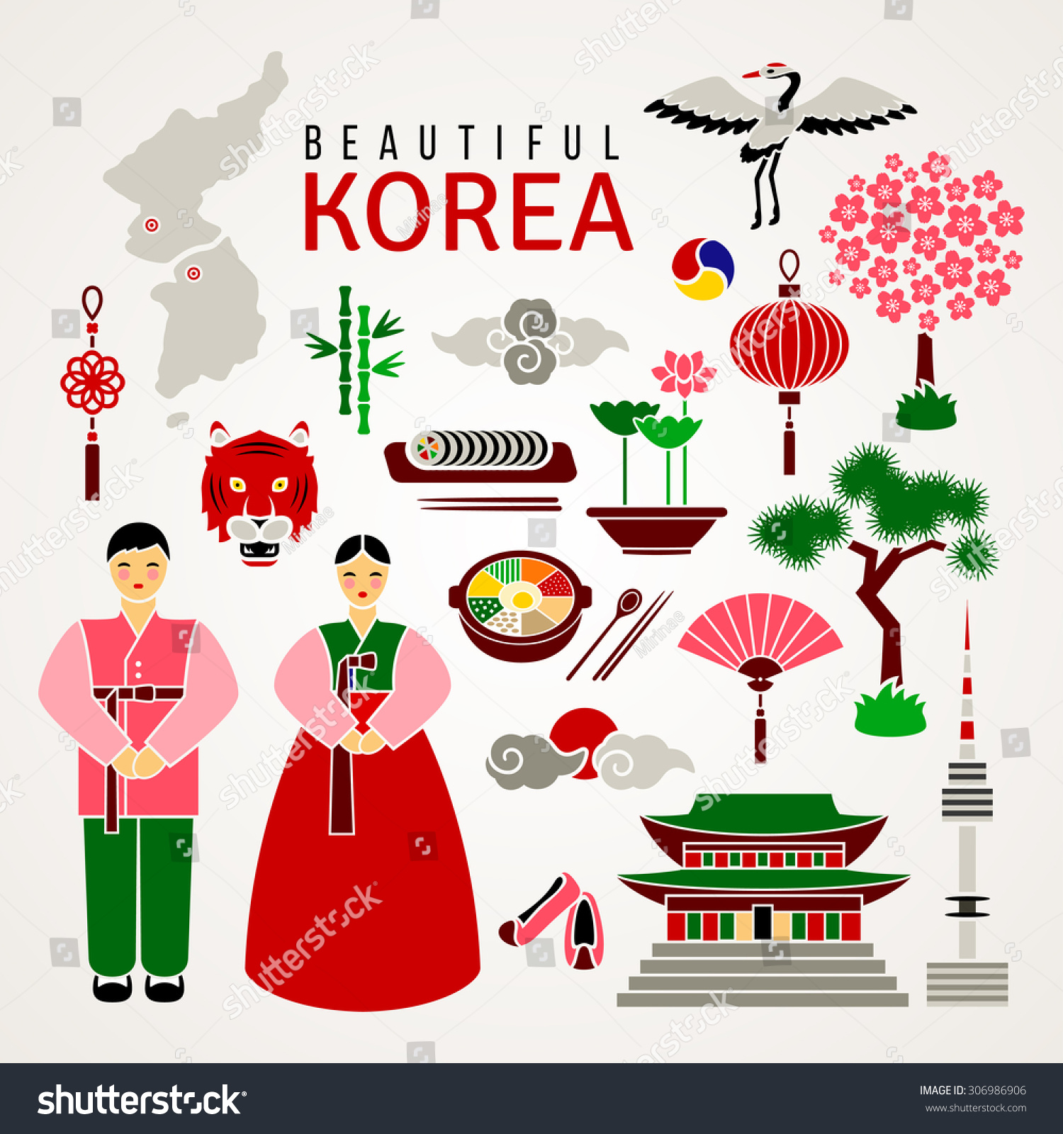 Korean Cultural Symbols Set Flat Icons Stock Vector Hd Royalty Free