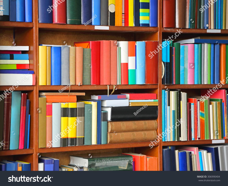 Colorful Books Bookshelf Library Stock Photo (Royalty Free ...