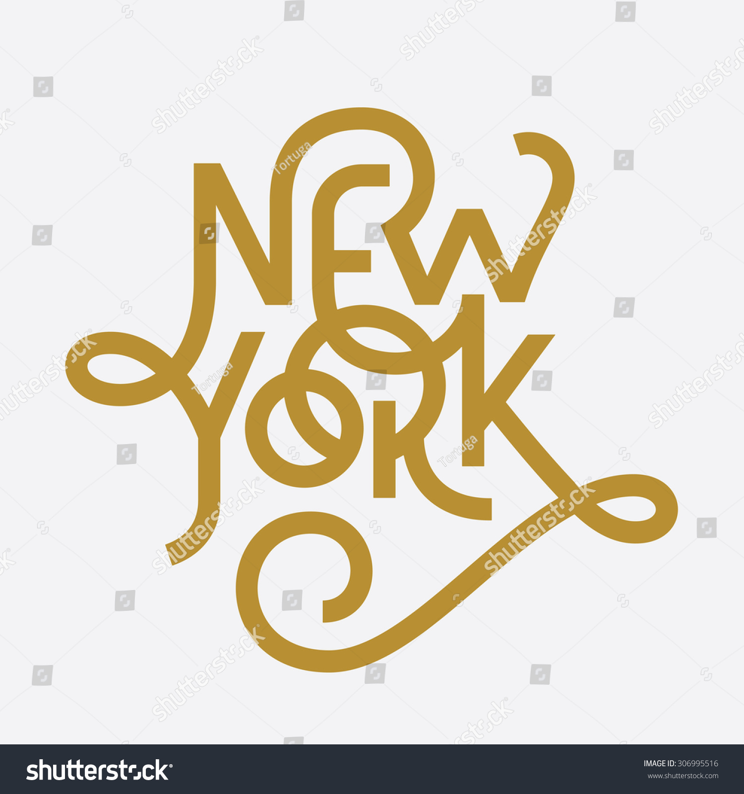 Vintage Hand Lettered Textured New York Stock Vector 306995516 ...