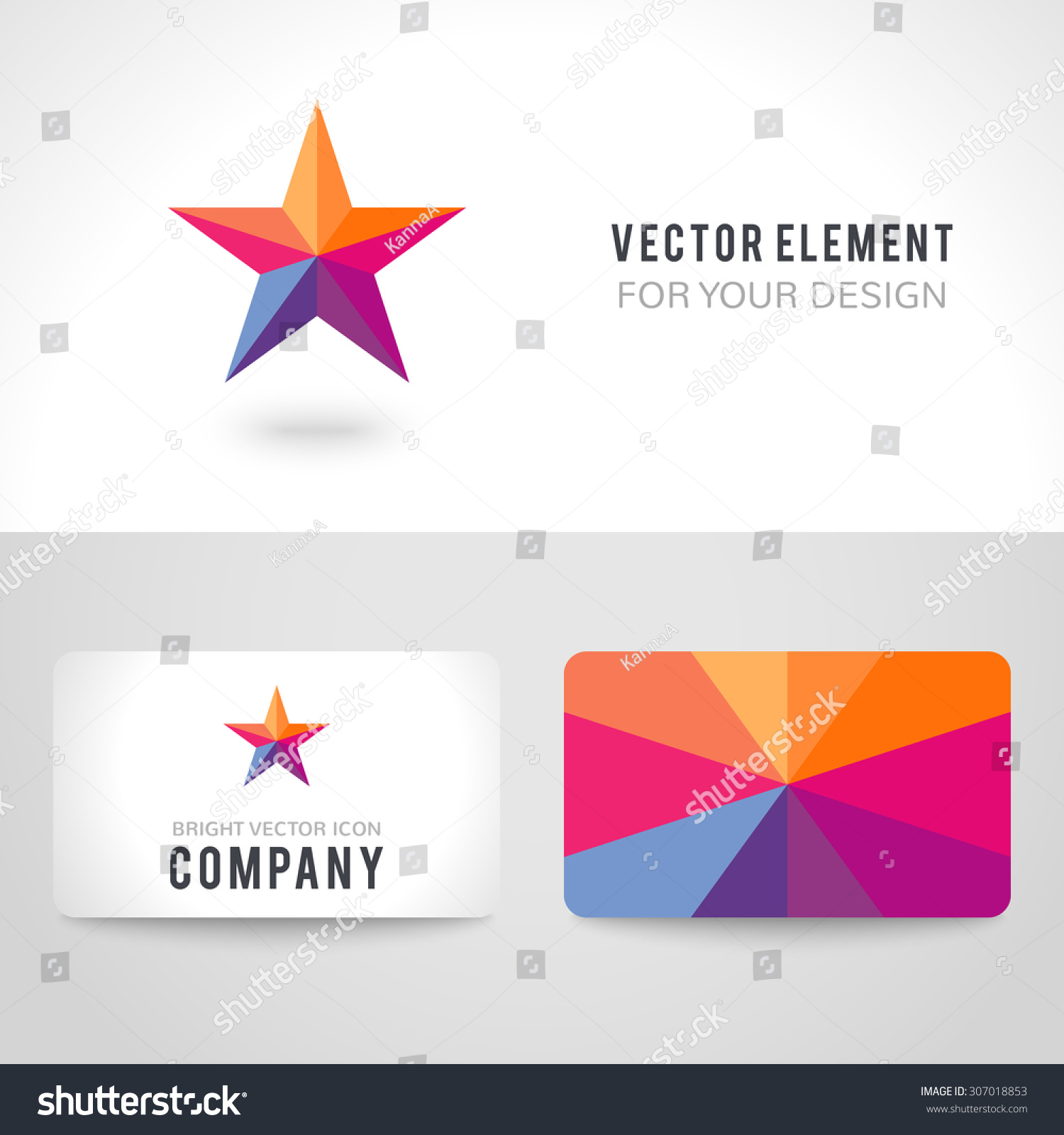 Business Card Template Set Bright Colorful Stock Vector