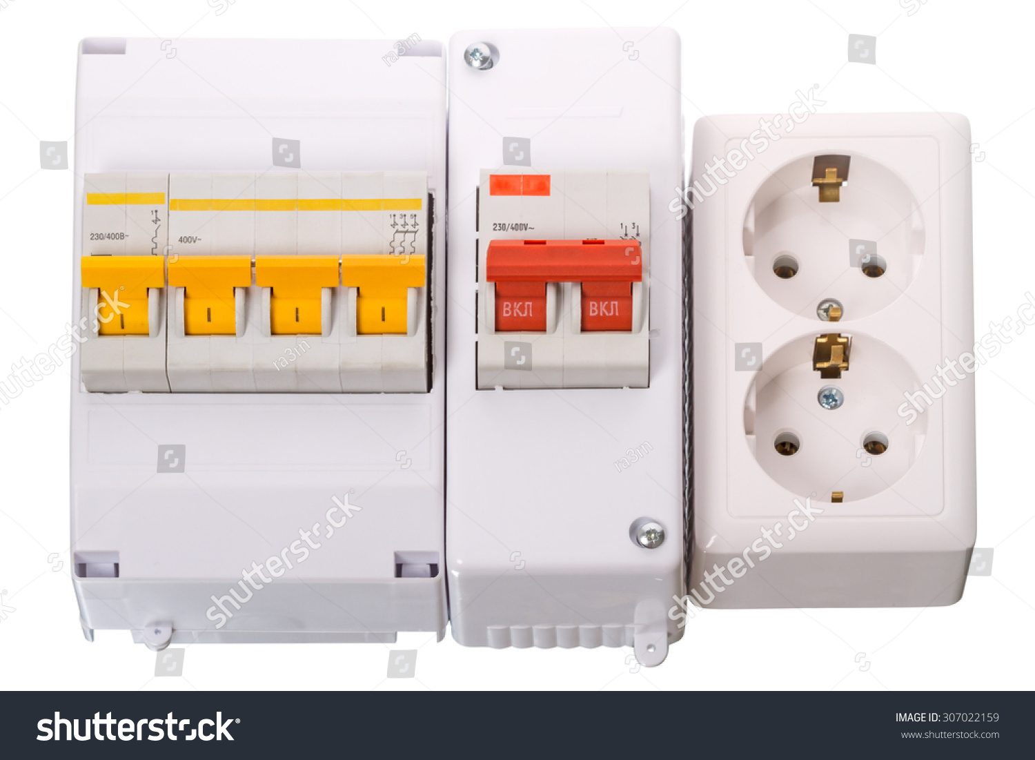 Circuit Breakers Double Electric Socket Isolated Stock Photo Edit Clothes Dryer Wiring To Breaker And On A White Background Used