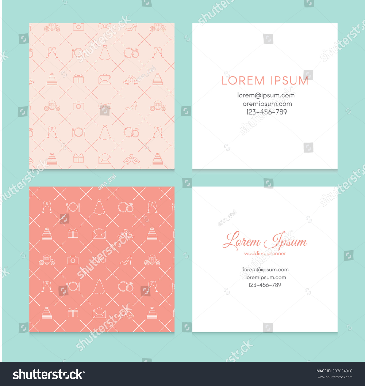 Set Wedding Business Card Wedding Planner Stock Vector 307034906 ...