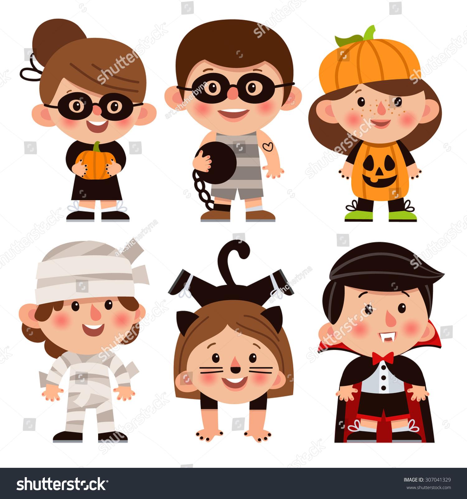 Set Cartoon Characters Halloween Children Dressed Stock ...