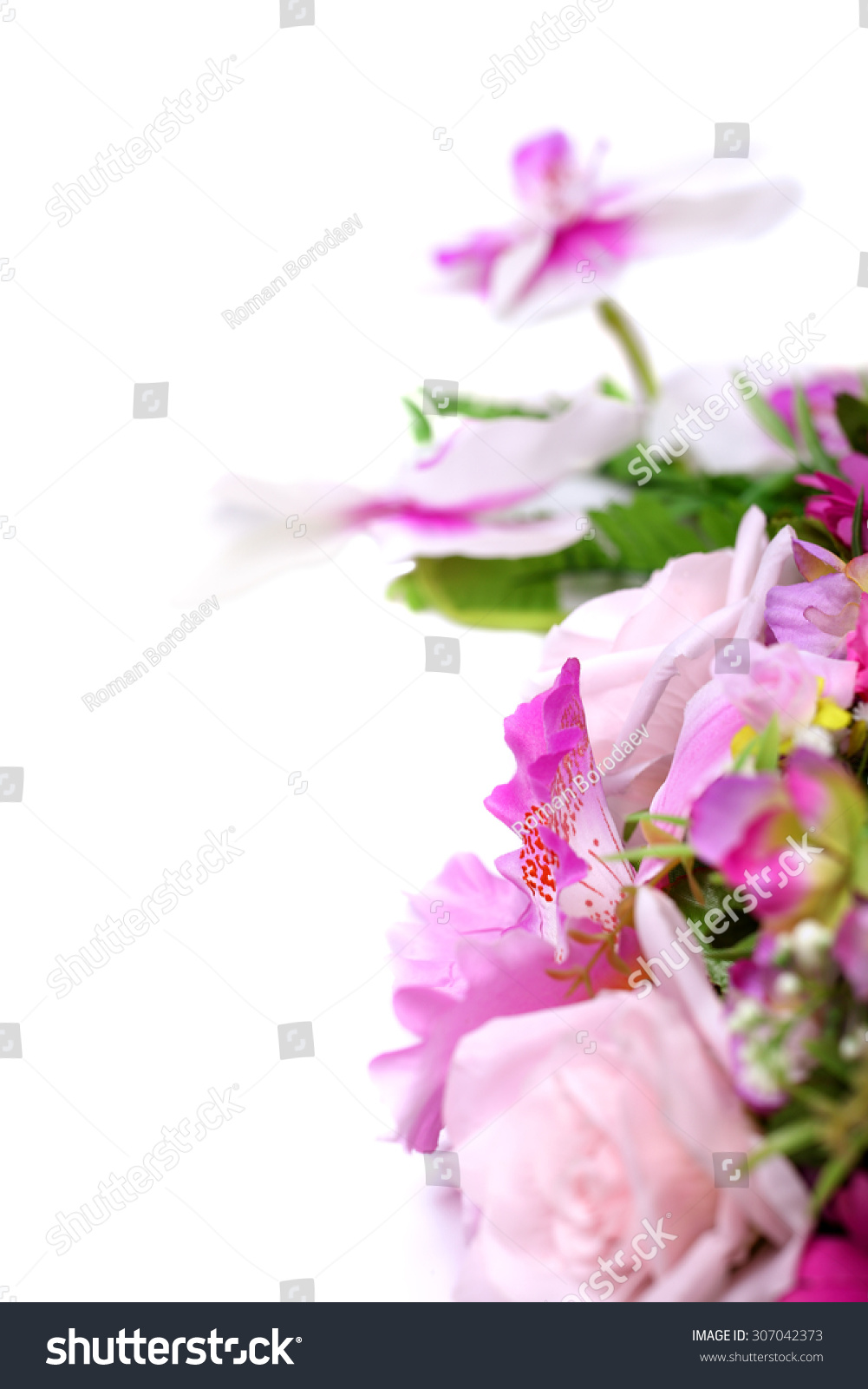 Purple flowers wedding bouquet background frame stock photo edit purple flowers wedding bouquet as background frame isolated on white for invitation card design izmirmasajfo