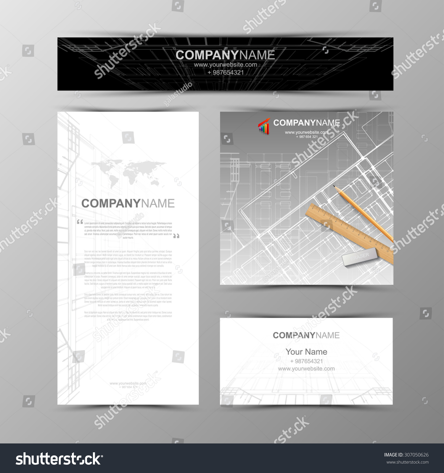 Business Cards Design Cityscape Sketch Architectural Stock Vector ...