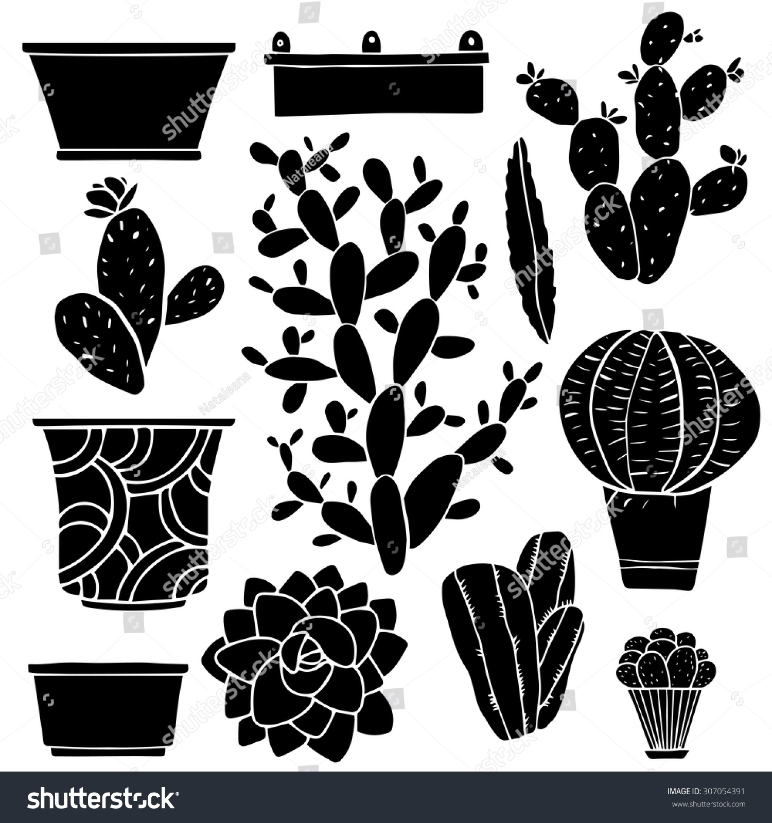 Cacti Hand Drawn Black Silhouettes Set, Succulents ...