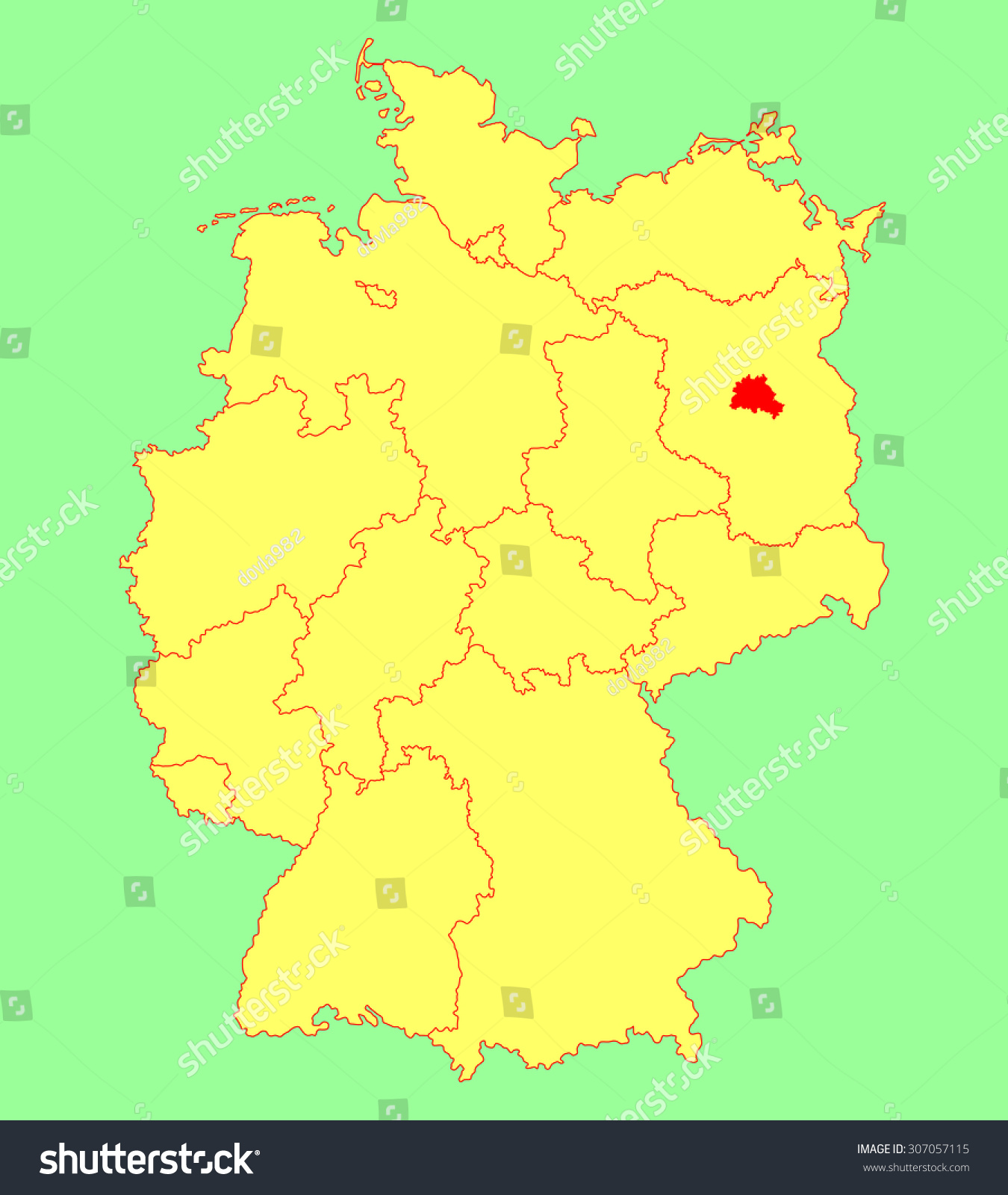 Berlin State Map Germany Vector Map Stock Vector - Berlin map in germany