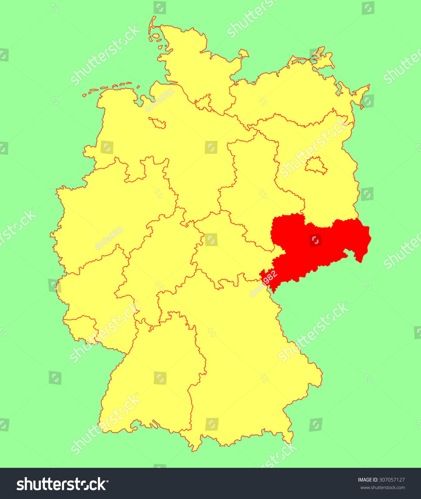 sachsen map saxony state map germany vector map silhouette illustration isolated on germany