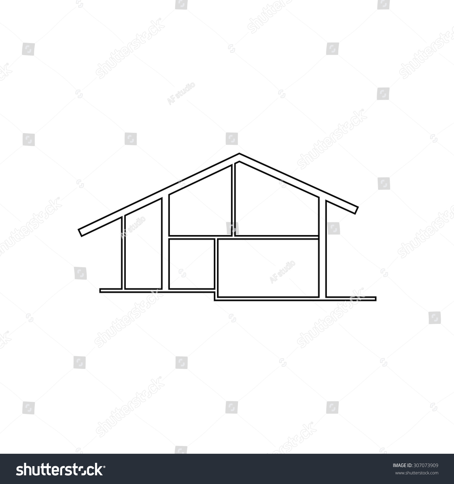 House outline picture - Modern House Outline Black Simple Vector Pictogram