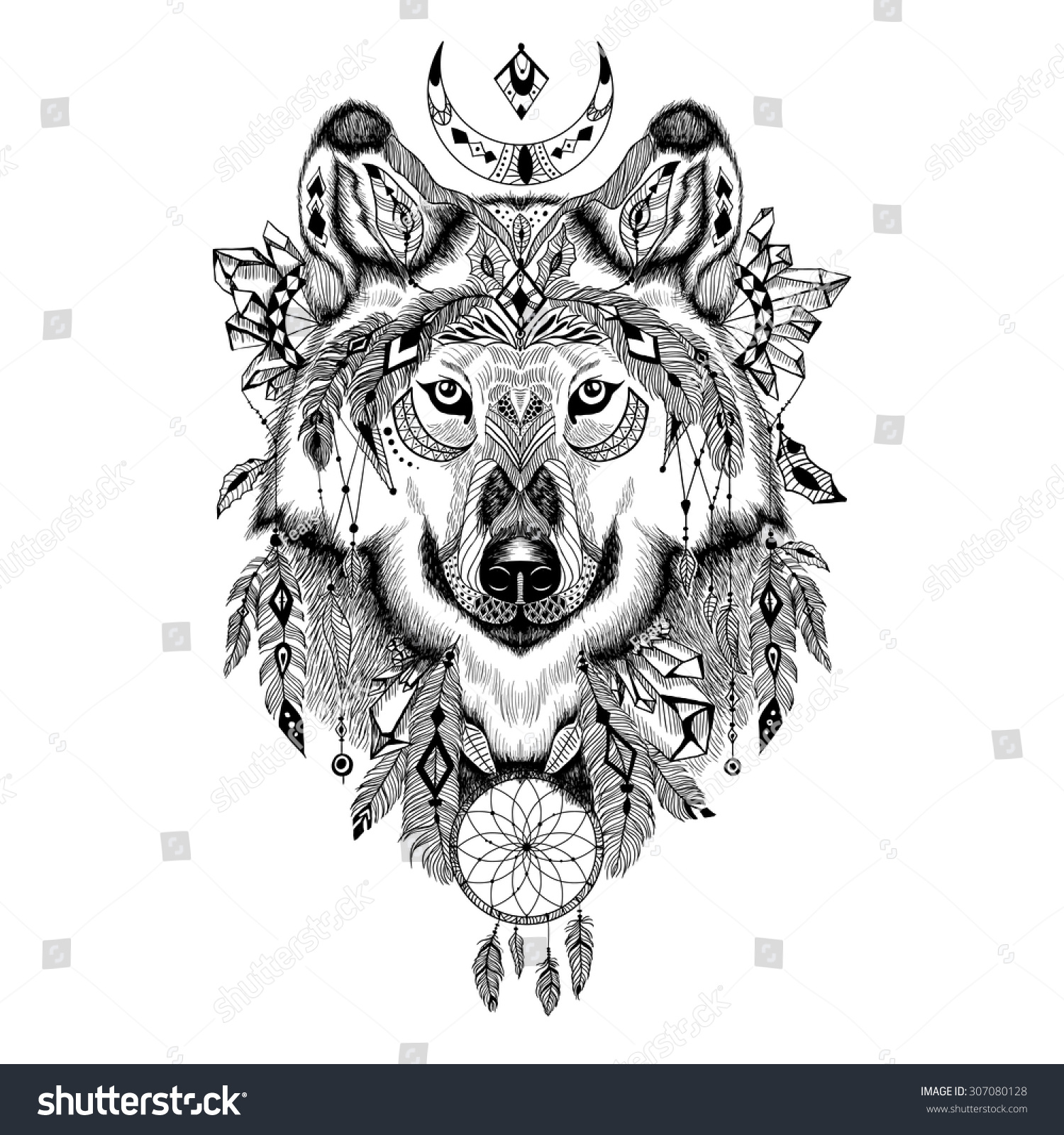 Detailed Wolf Aztec Style Stock Vector 307080128