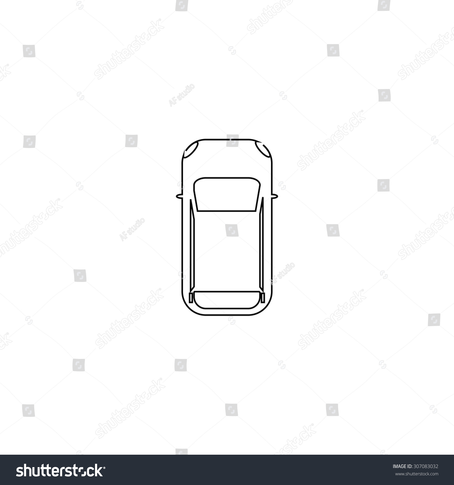 Simple Car Top View Outline Black Stock Vector 307083032 - Shutterstock