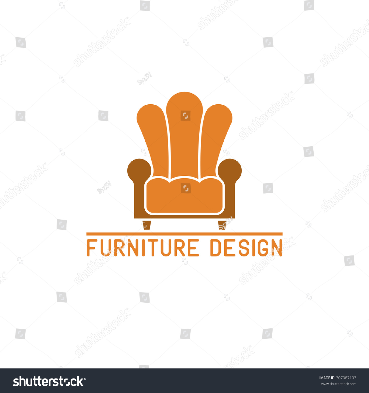 Furniture Logo Armchair Design Element Mockup Stock Vector