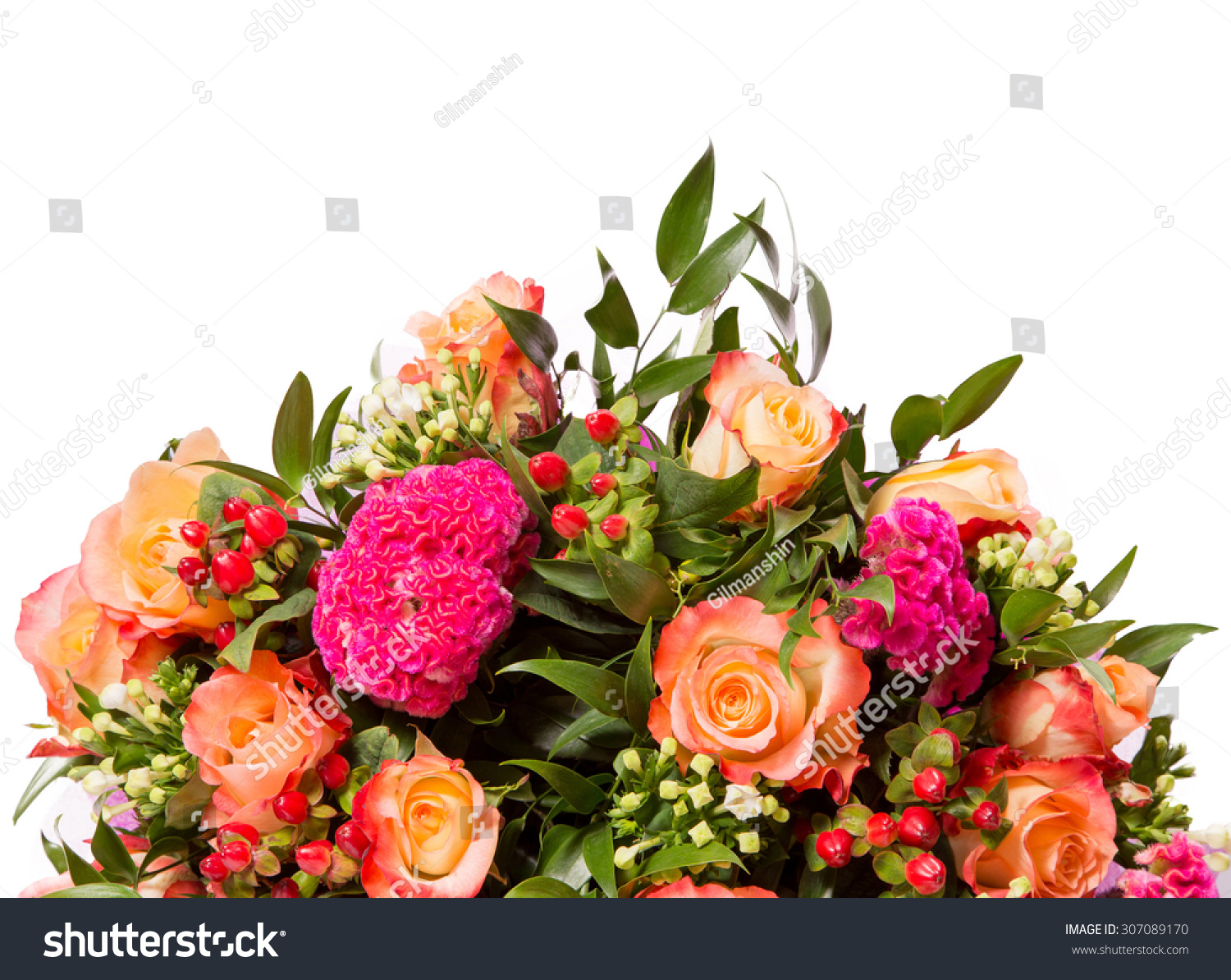 Bouquet flowers top view isolated on stock photo 307089170 for Biggest bouquet of flowers