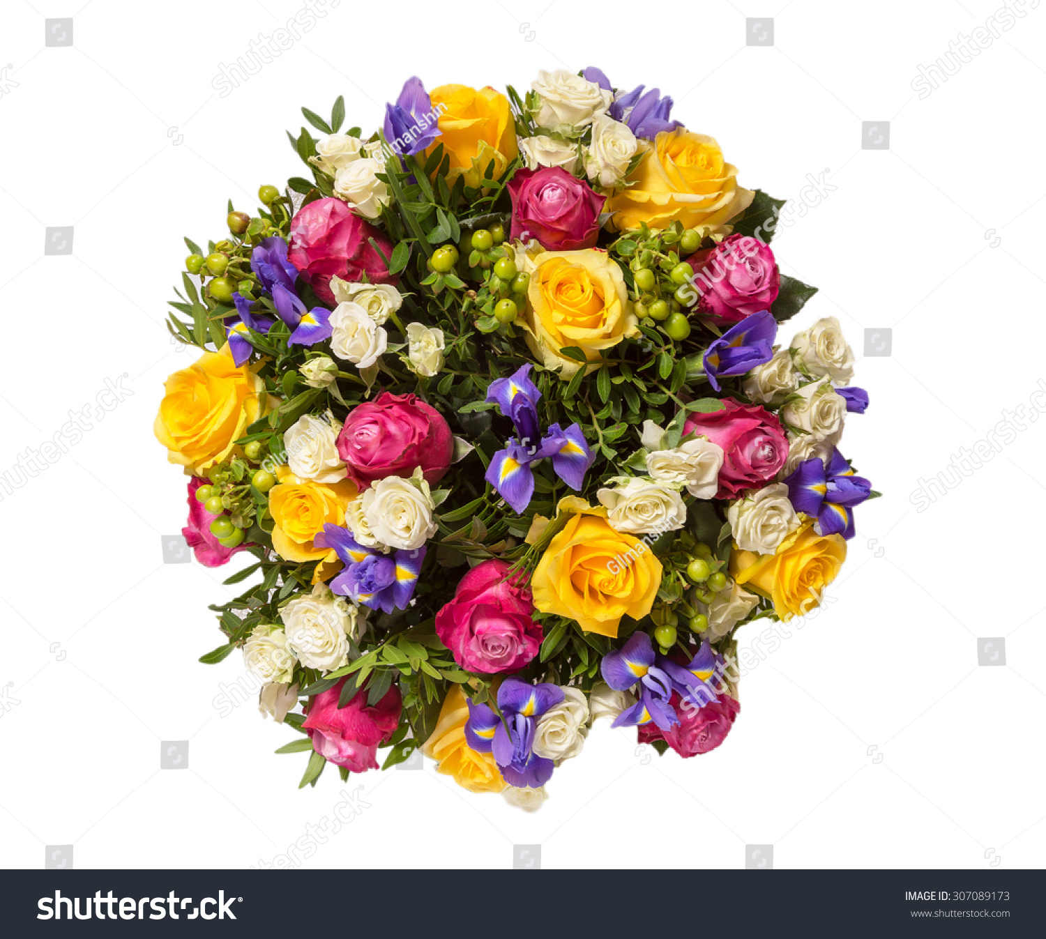 Bouquet Flowers Top View Isolated On Stock Photo Edit Now