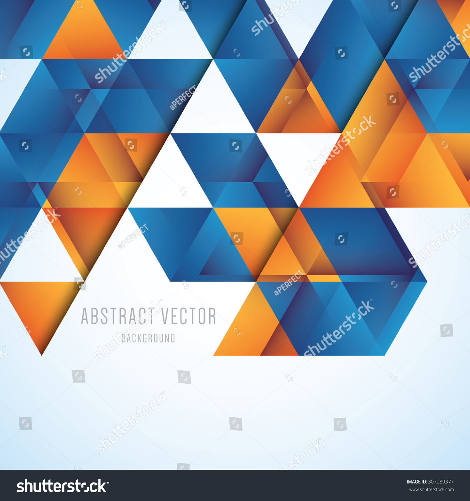 Abstract Orange Blue Triangles Vector Background Stock