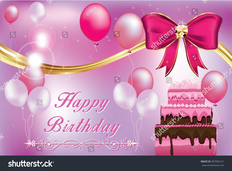 Birthday Greeting Card Print Purple Pink Stock Vector 307096121