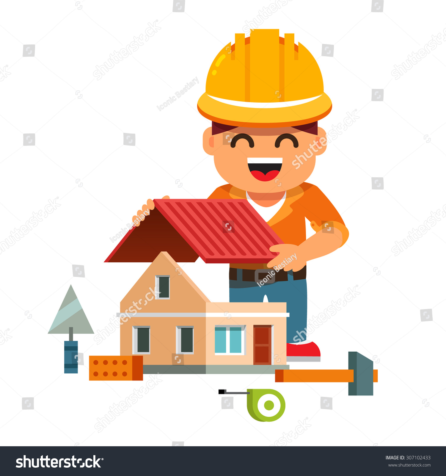 Young Smiling House Builder Hardhat Building Stock Vector