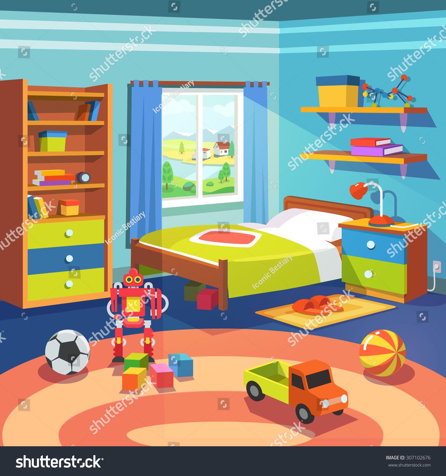 Boy Room Big Window Suffused Light Stock Vector 307102676