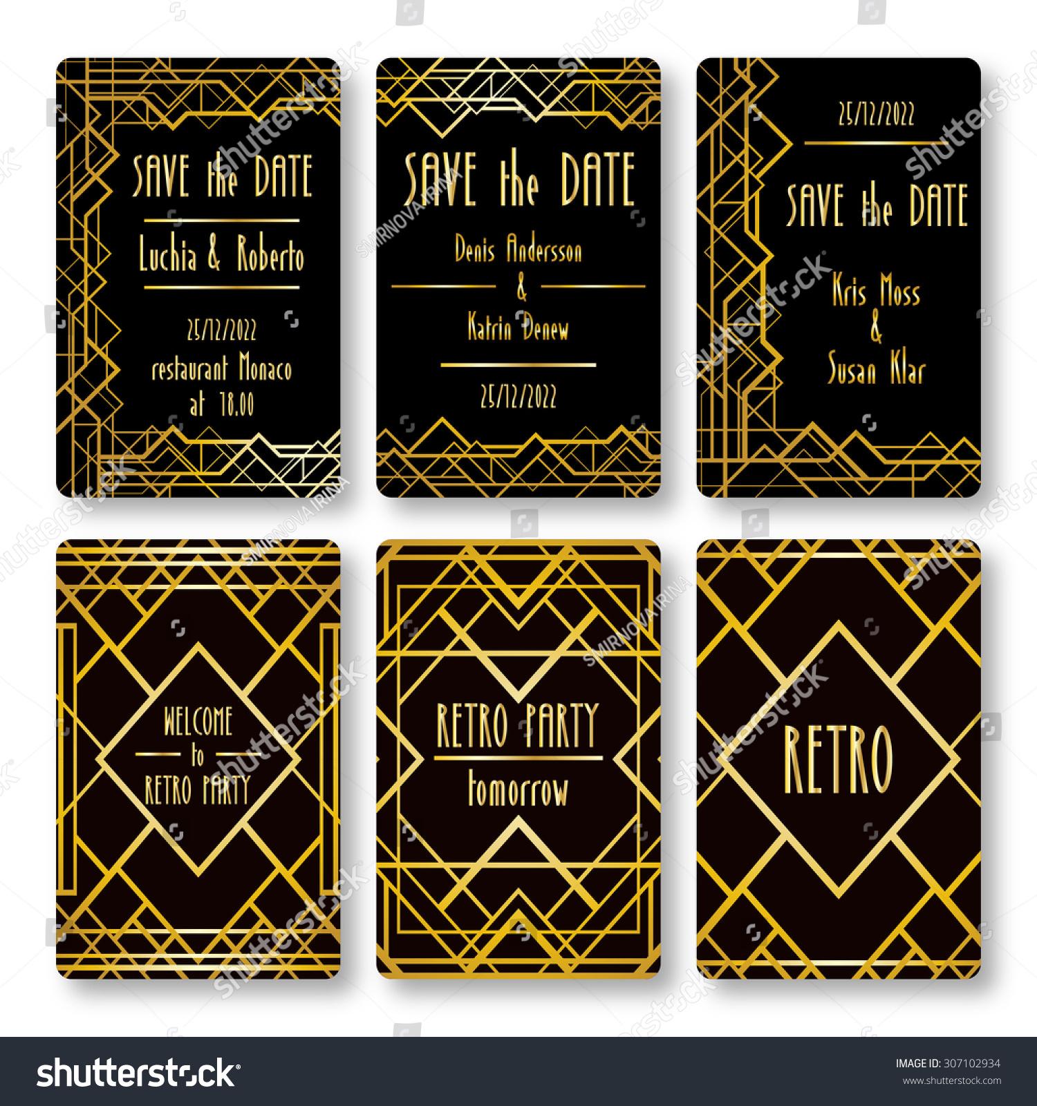 Set Vector Card Templates Art Deco Stock Vector