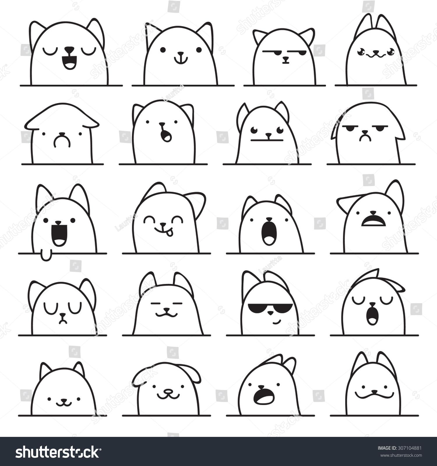 set of 20 different doodle emotions cat smile for design