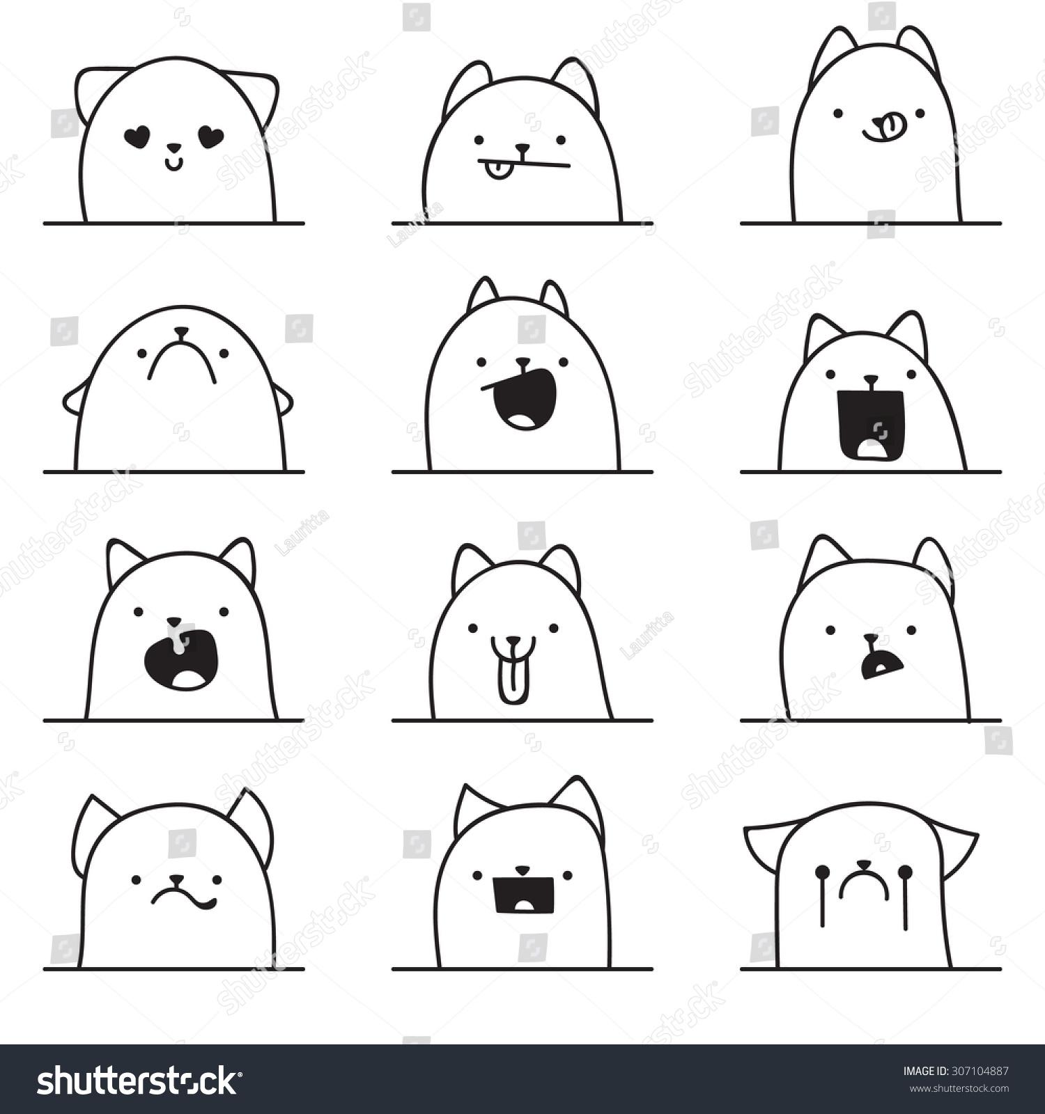 set of 12 different doodle emotions cat emotions for