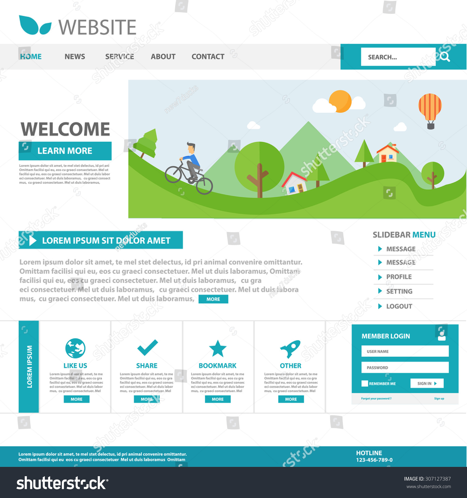 Blue Business Multipurpose Website Homepage Template Stock Vector