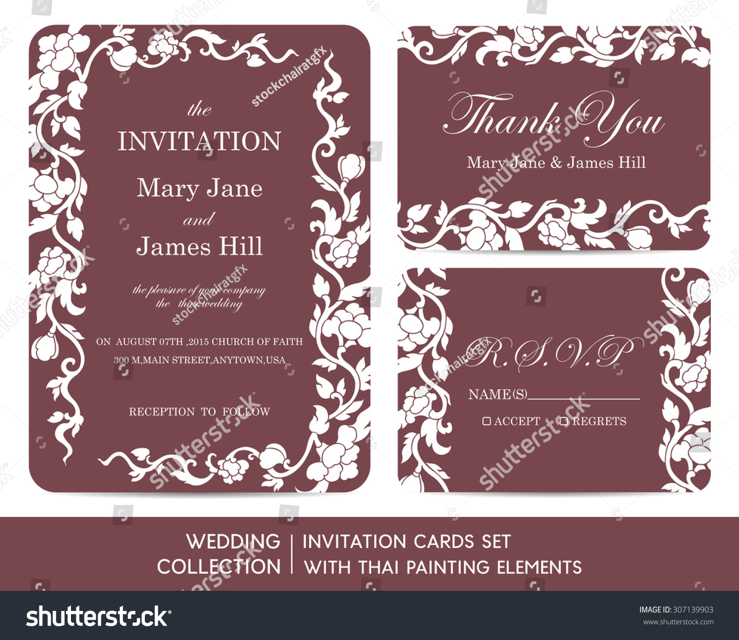 Wedding Invitation Cards Set Thai Painting Stock Vector (Royalty ...