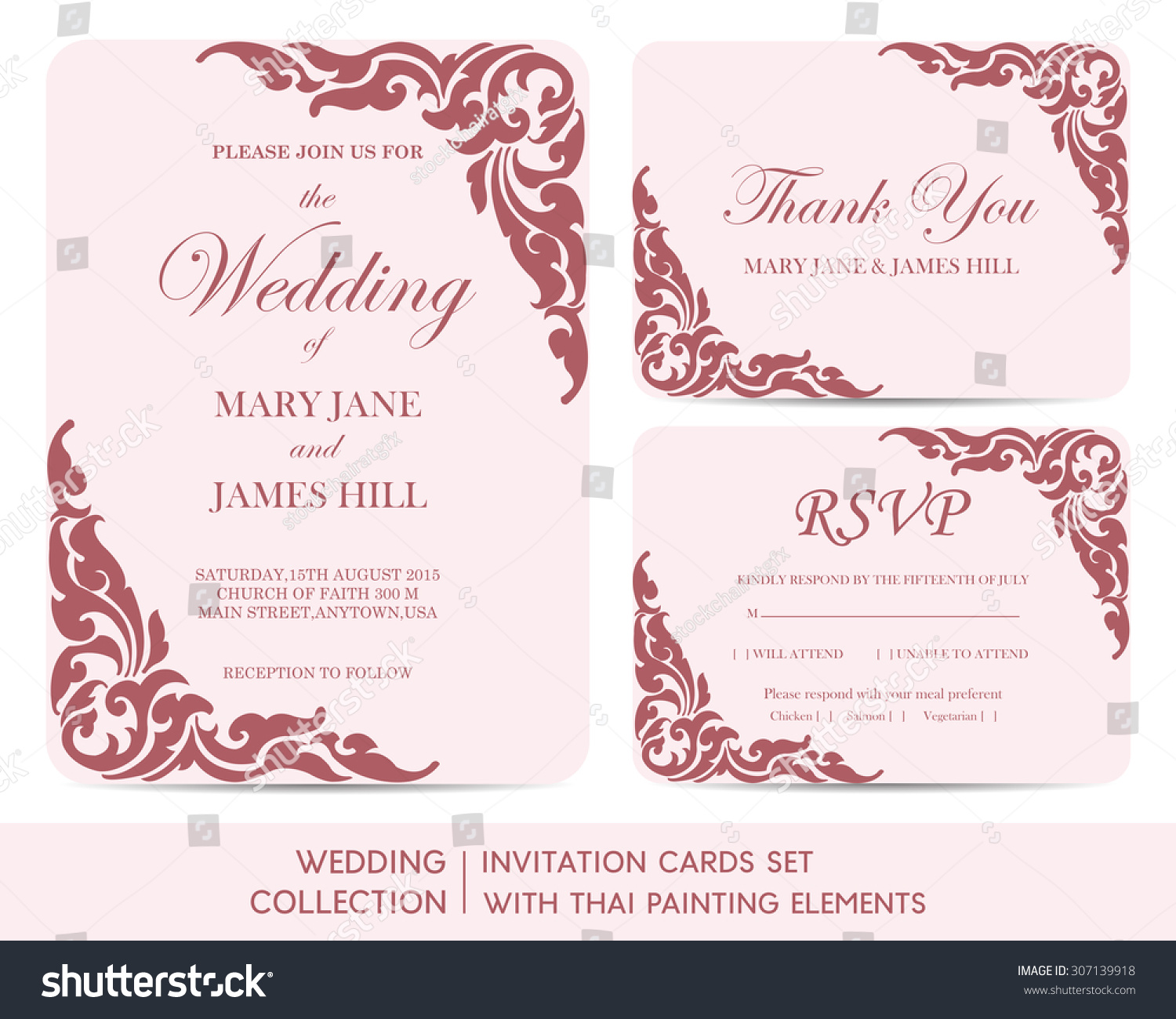 Wedding Invitation Cards Set Thai Painting Stock Vector
