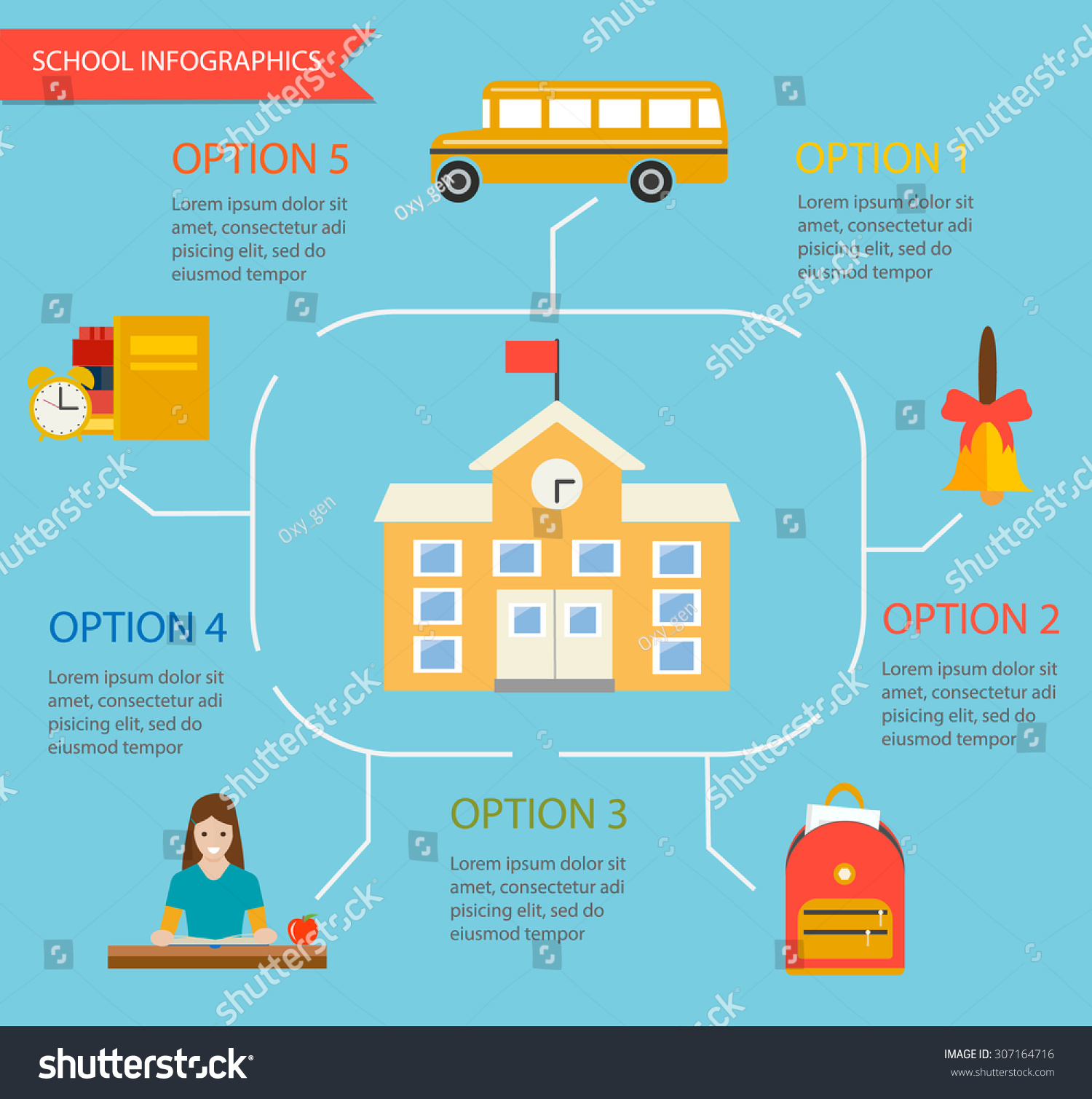 School Infographics Template With School Building And