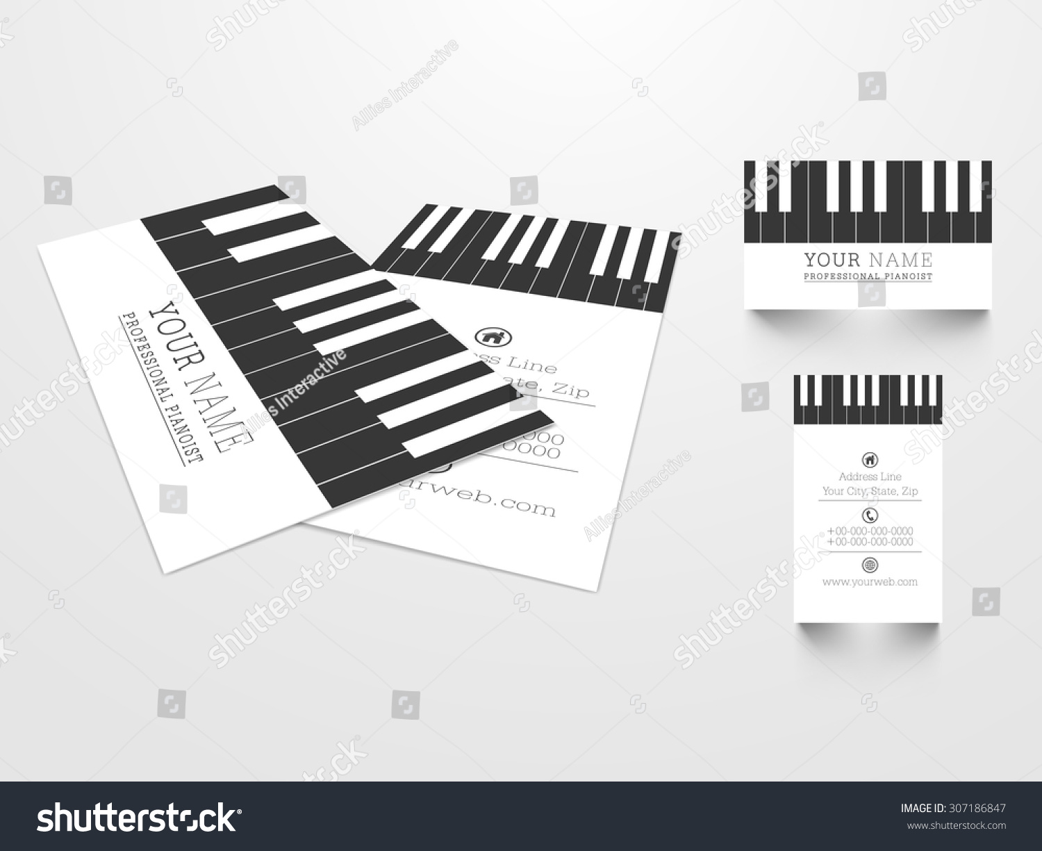 Creative business card set illustration piano stock vector creative business card set with illustration of piano keys for music concept magicingreecefo Images