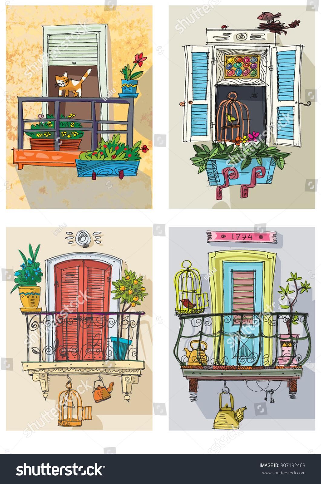 Set of cute balconies cartoon stock vector illustration for Balcony cartoon