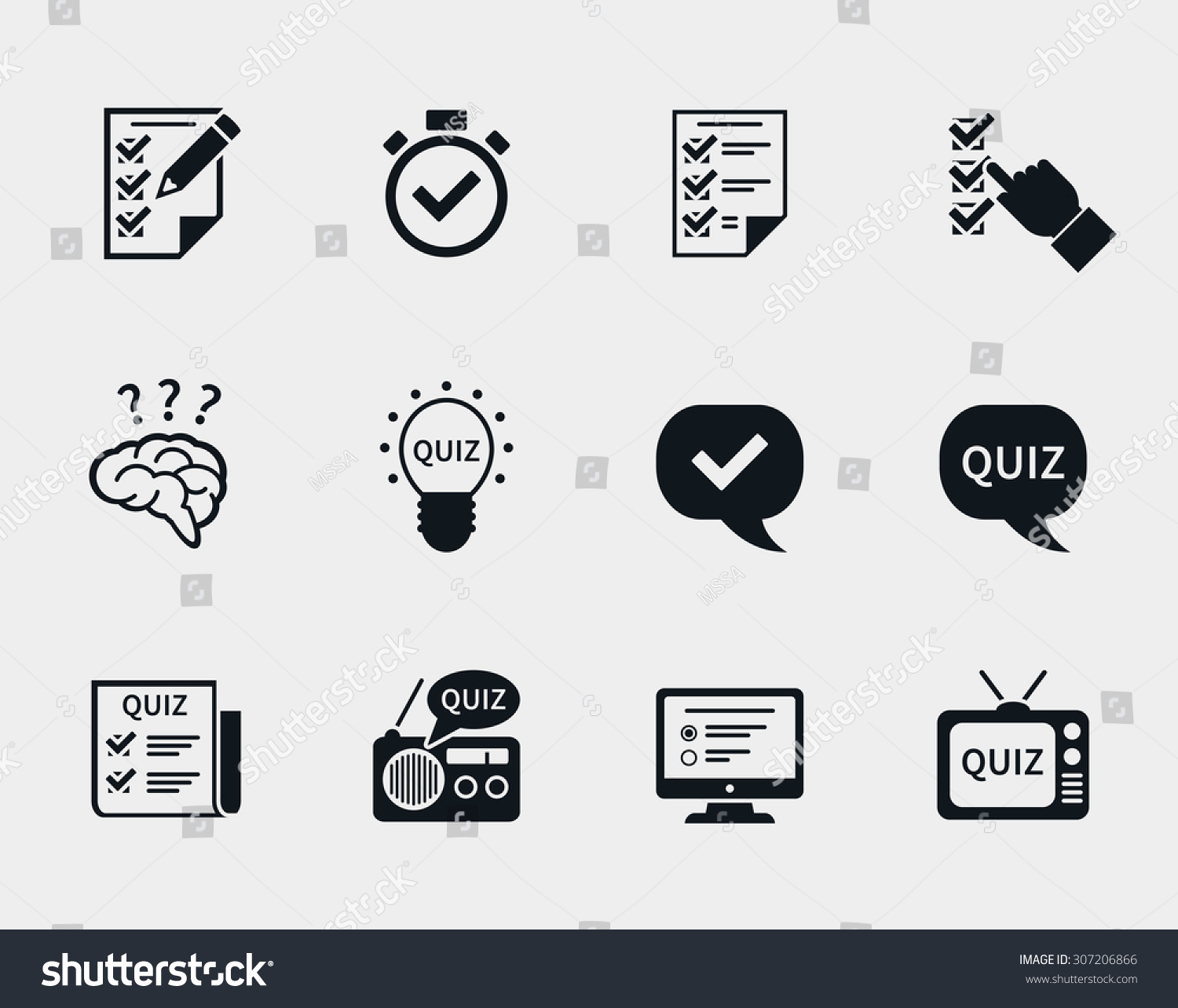 Quiz Icon Set Question Answer Questionnaire Stock Vector