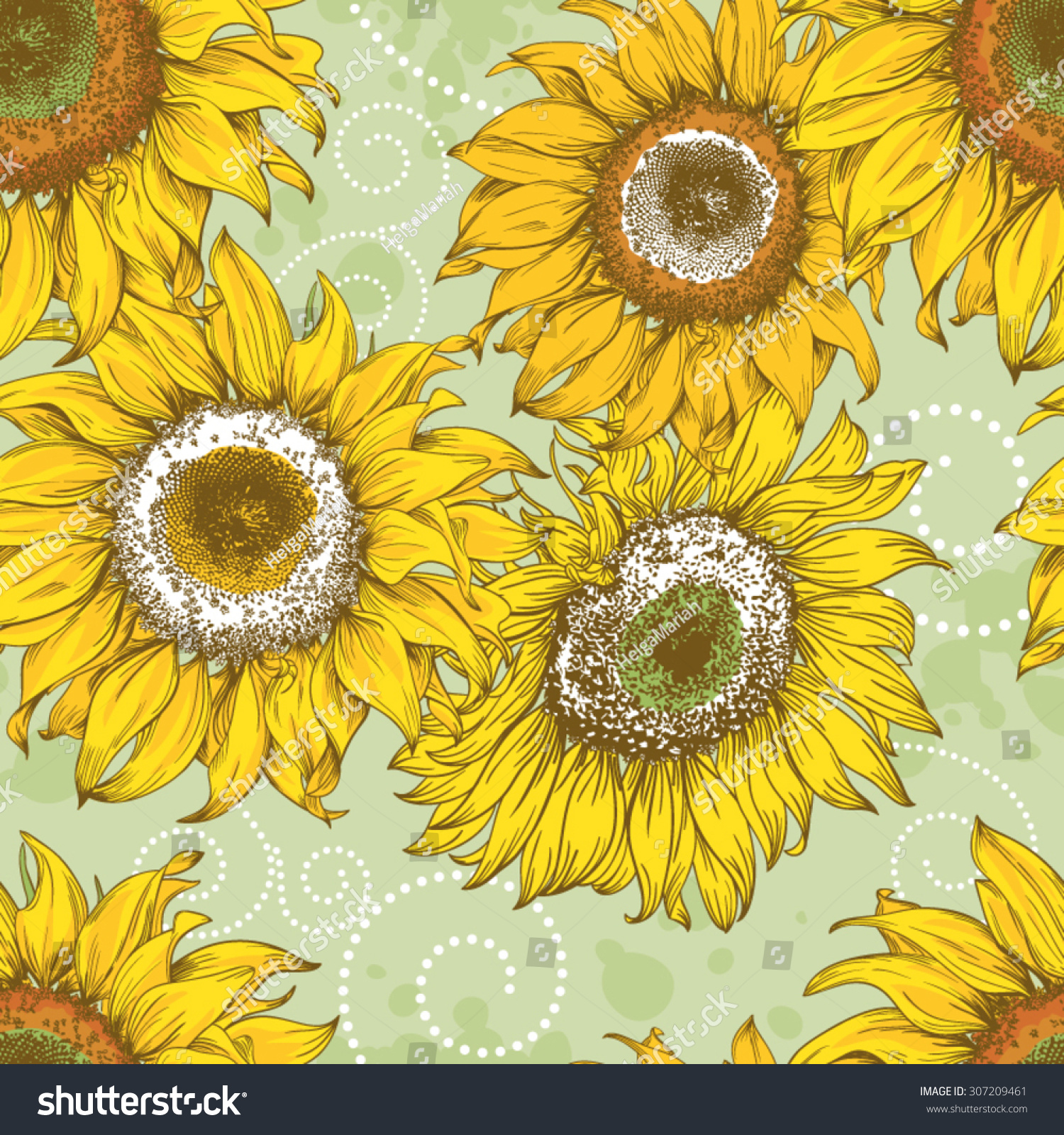 Seamless Wallpaper Background With Hand Drawn Vintage Sunflowers Curls And Splashes
