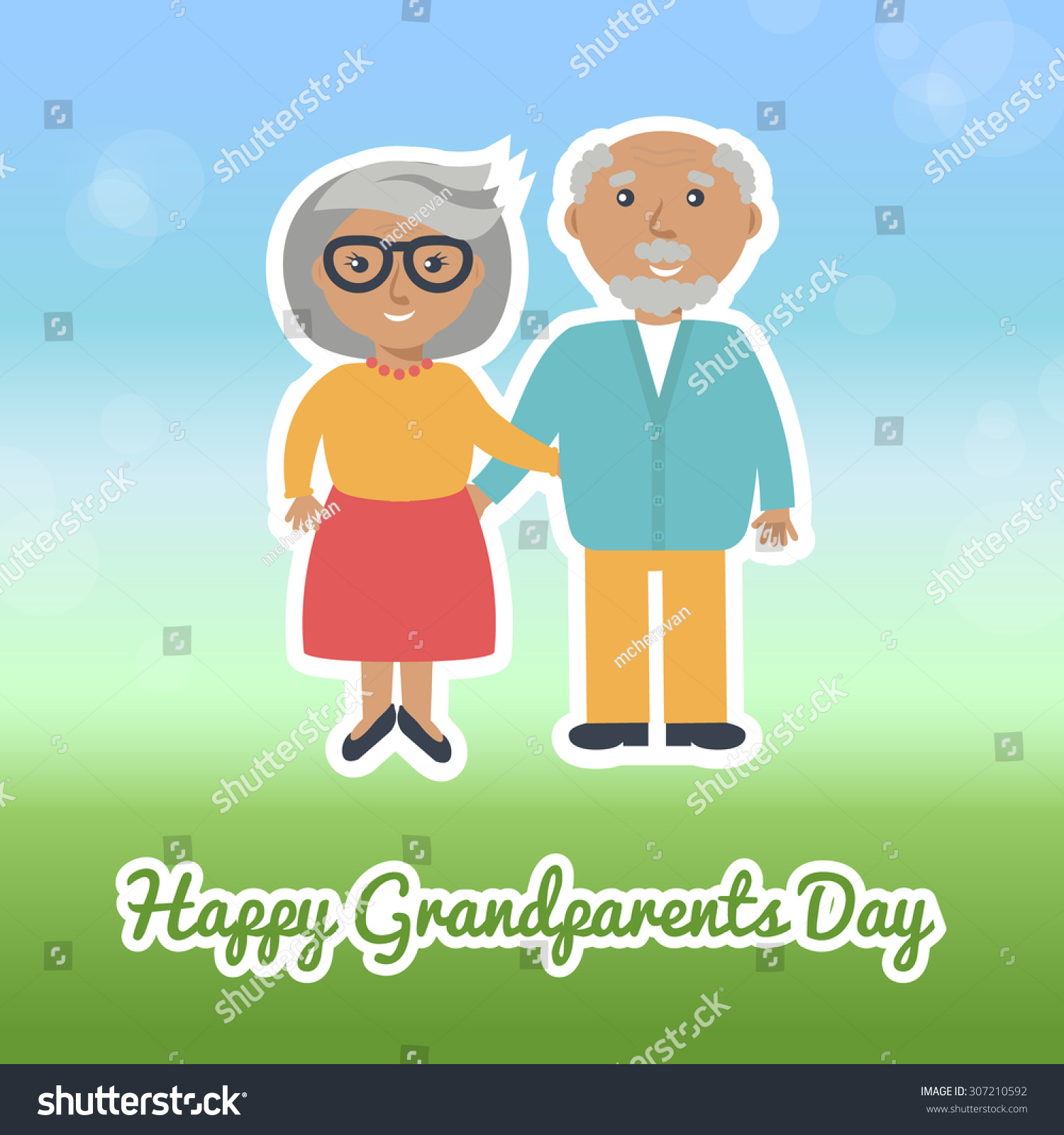 Happy Grandparents Day Card Design Grandmother Stock Vector Royalty