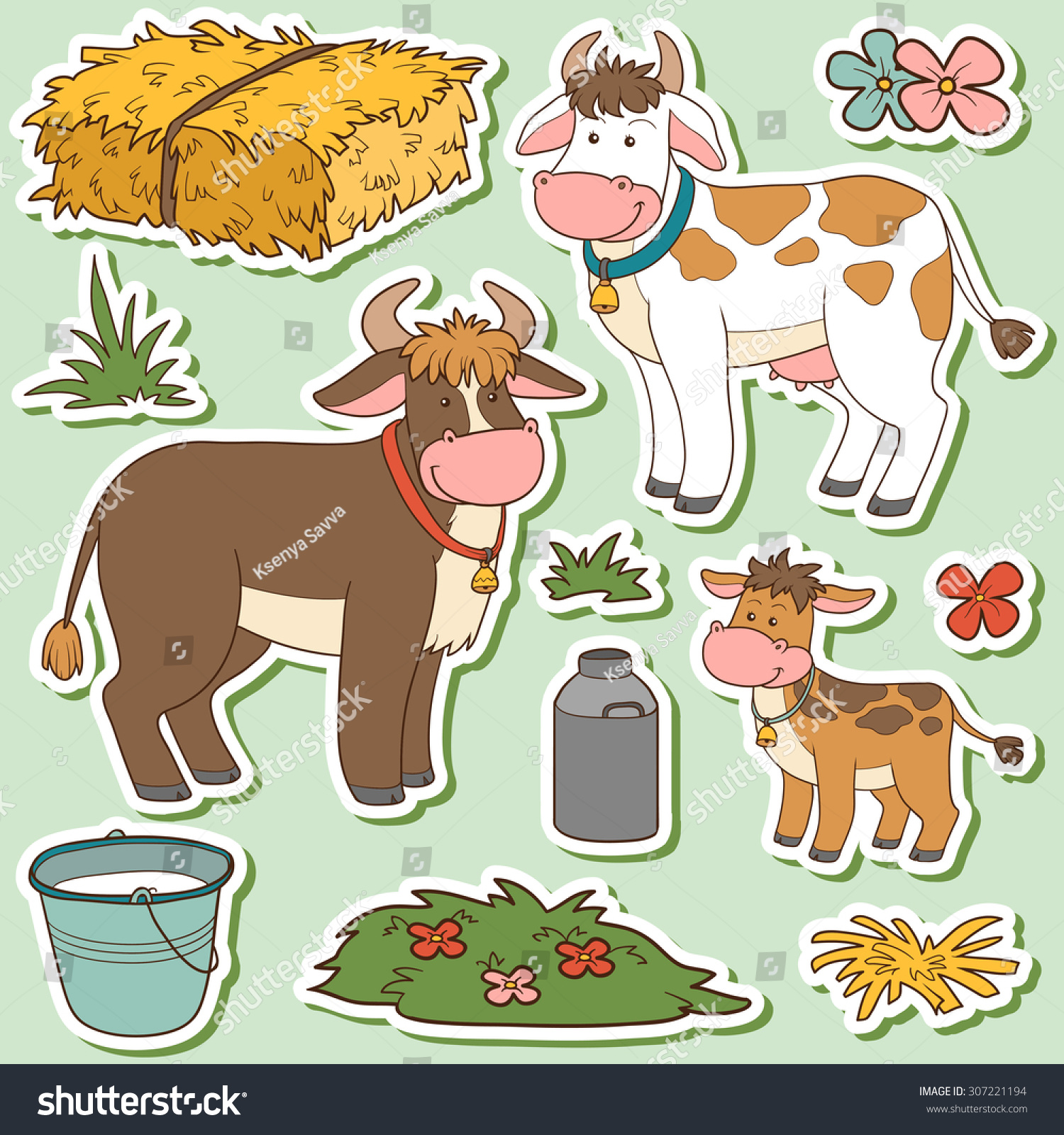 Farm animals set vector stickers with cow family and farm items