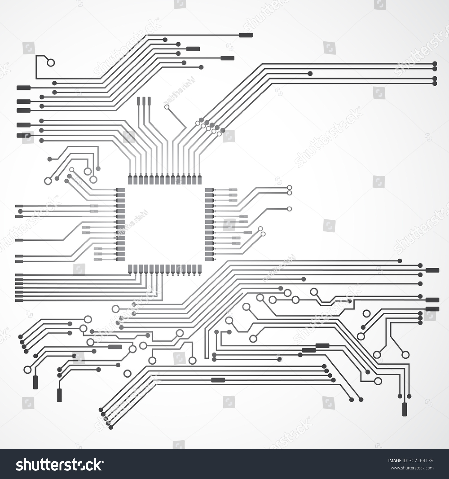 Processor Circuit Electric Digital Concept Stock Vector Royalty Diagram And