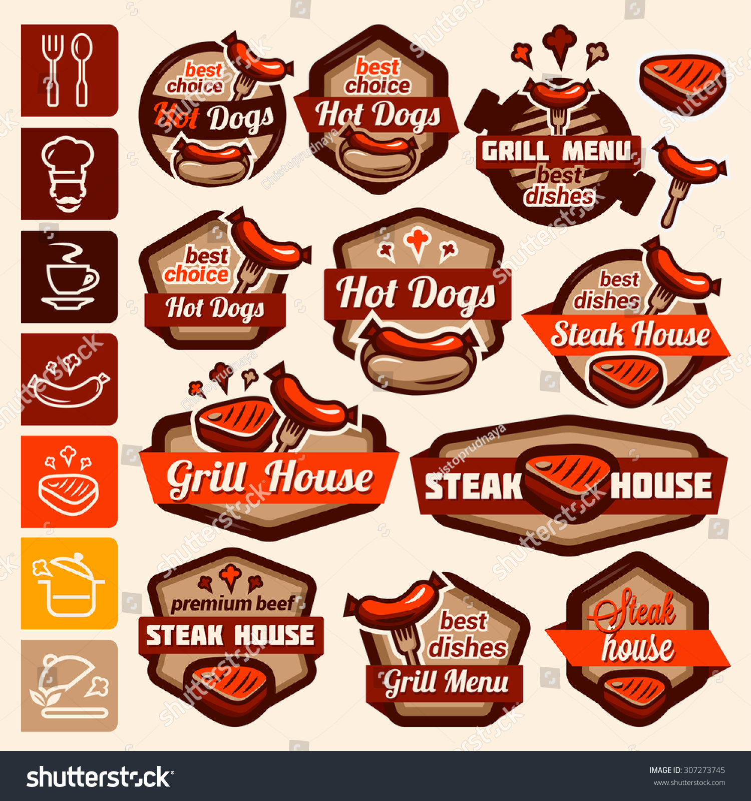 Fast Food BBQ Grill Elements Typographical Stock Vector Royalty