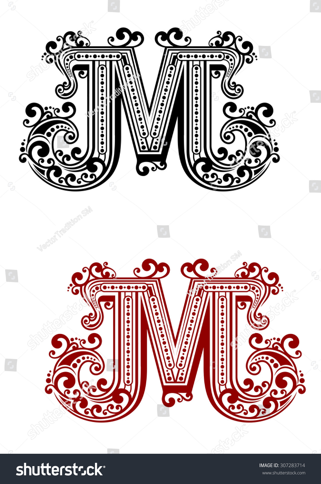 Uppercase Letter M Decorated Calligraphic Swirl Stock Vector ...