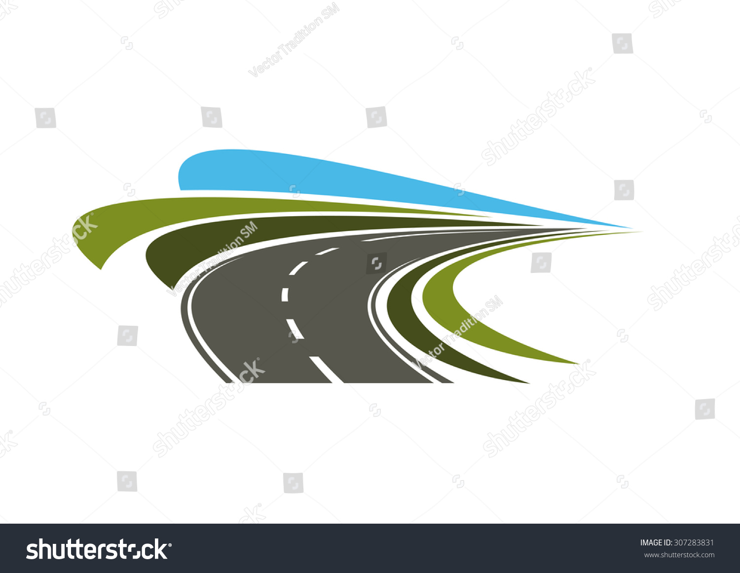 Steep Turn Of Speed Road Icon With Flowing Lines Of Green ...